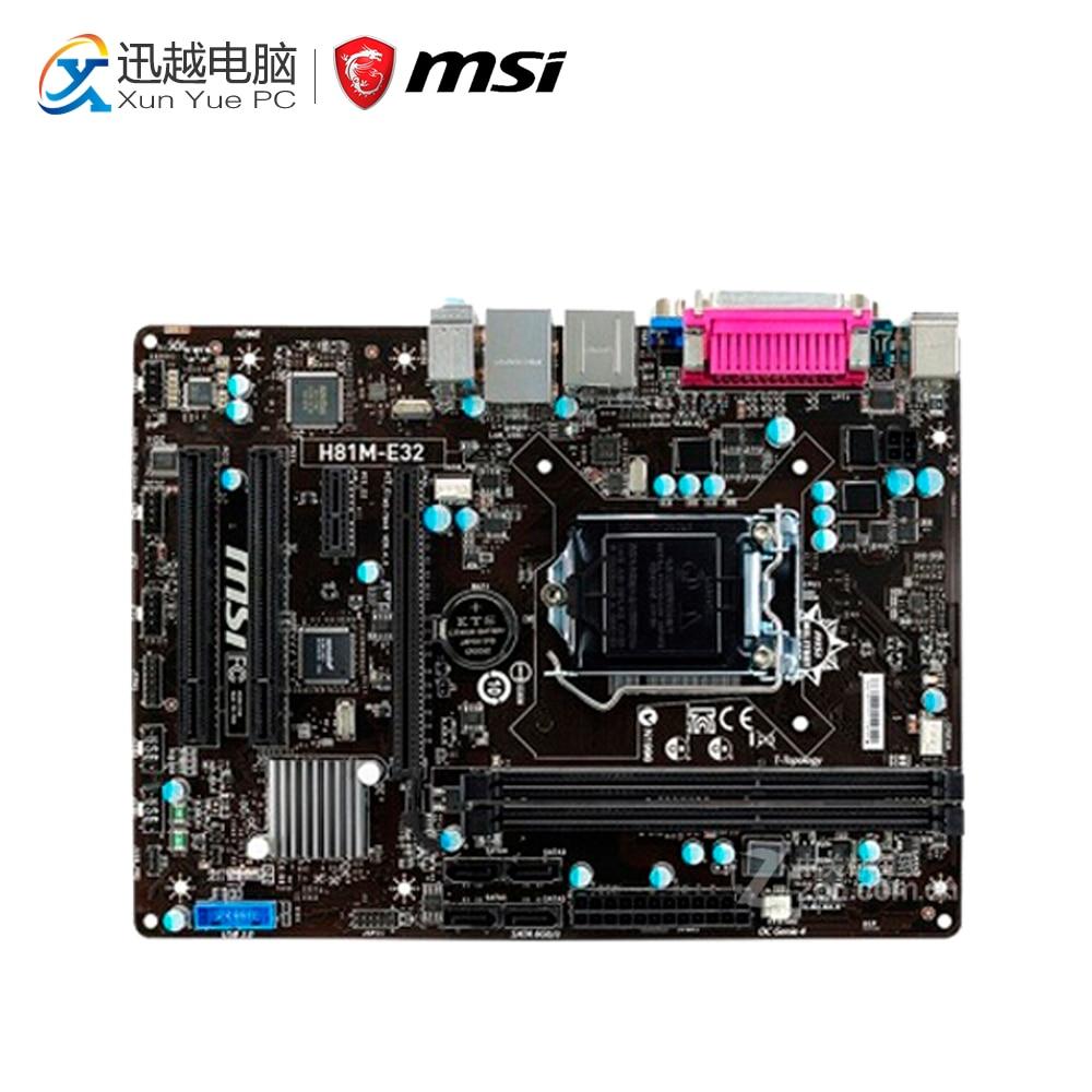 MSI H81M-E32 Desktop Motherboard H81 Socket LGA 1150 i3 i5 i7 DDR3 16G SATA3 USB3.0 Micro-ATX original motherboard msi h81m pro vd lga 1150 ddr3 h81 socket lga 1150 i3 i5 i7 ddr3 16g sata3 usb3 0 micro atx free shipping