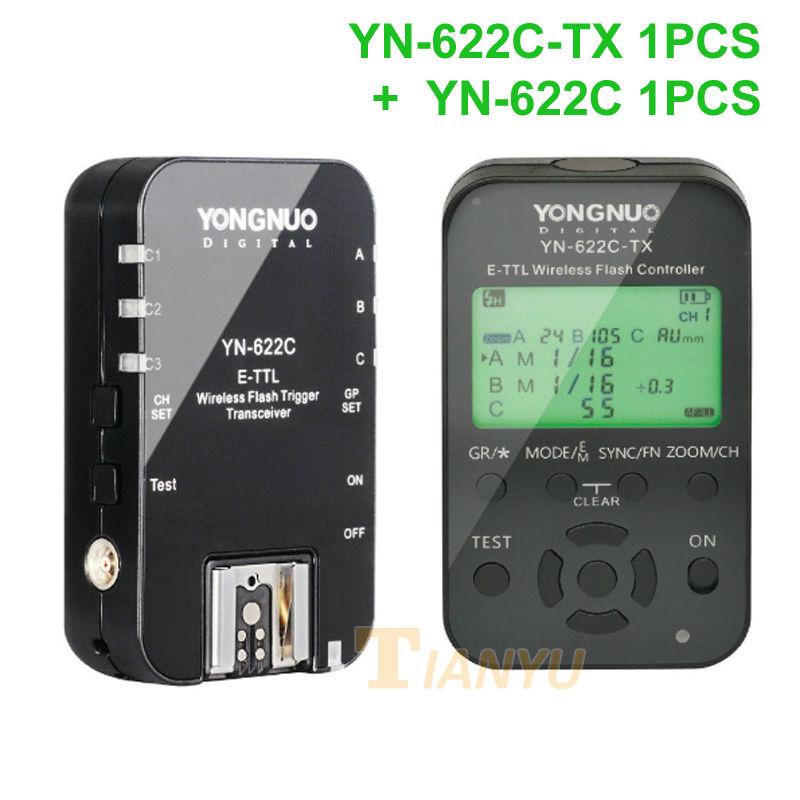 Prix pour Yongnuo YN-622C + YN-622C-TX KIT Sans Fil TTL HSS Déclencheur Flash pour Canon 1200D 1100D 1000D 800D 750D 650D 600D 550D 500D 5D II