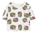 Mujeres crop tops harajuku unicornio de dibujos animados de moda/floral de rose letras kawaii hello kitty impreso corta camiseta de las mujeres camisa de cuello redondo