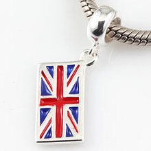 Authentic 100% 925 sterling silver Great Britain Flag Charm Fit Pandora Bracelets & Bangles DIY Jewelry(China)
