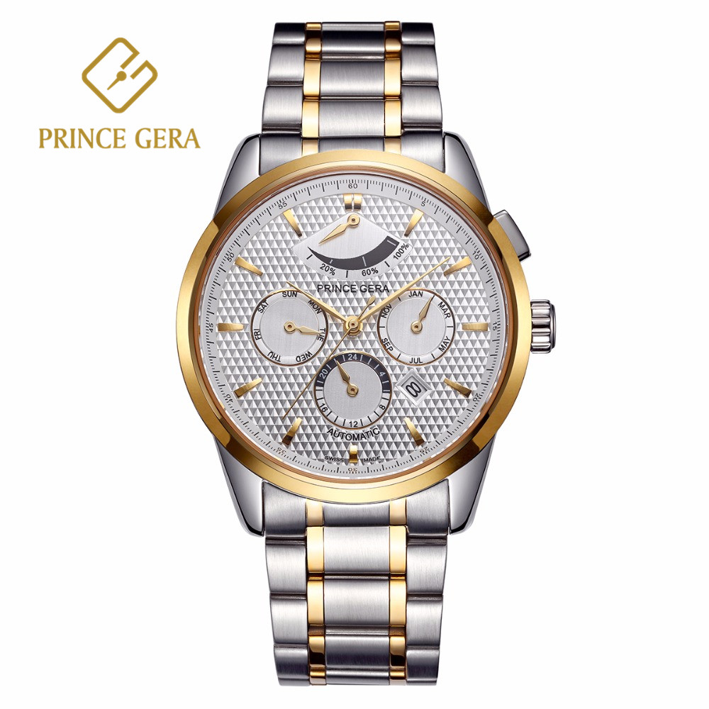 PRINCE GERA Luxury Men's Mechanical Watch Multi-function Dial With Calendar Month Week Display Automatic Men Watch Waterproof triple dial hour second week display automatic mechanical watch for men tevise 356