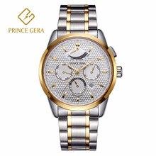 PRINCE GERA Luxury Men's Mechanical Watch Waterproof Auto Date Month Week Display Automatic Watch Top Men Mechanical Wristwatch