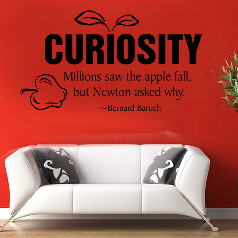 Millions Saw The Apple Fall But Newton Asked Why Vinyl Waterproof Black Printed Adhesive Wall Sticker Home Decor