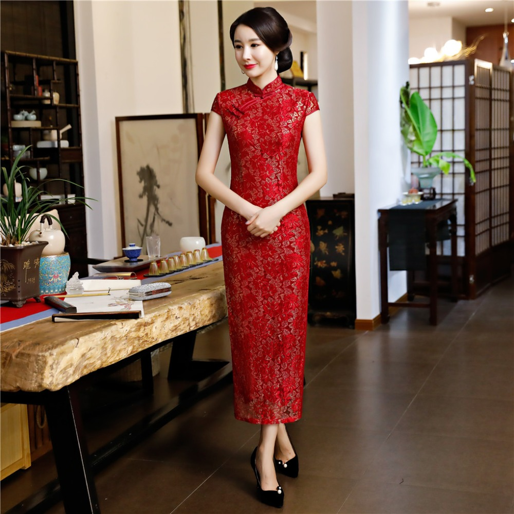 Shanghai Story 2019 nouvelle vente chinois femmes Qipao longue chinois traditionnel robe à manches courtes dentelle Cheongsam Oriental robe