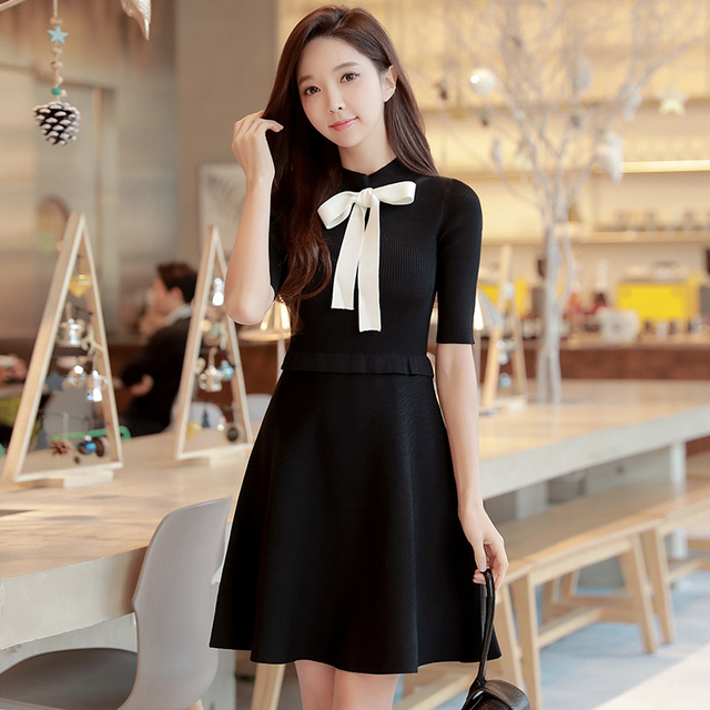 0d05a173801 US $89.0 |original 2018 brand spring new black sweater dresses female  elegant casual slim ladies bow knitted dress women wholesale-in Dresses  from ...
