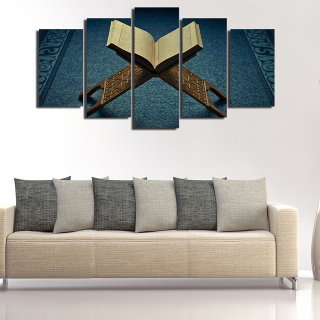 Canvas Painting Style Wall Frame Art Pictures 5 Panel Muslim For Living Room  Islam Book Cuadros