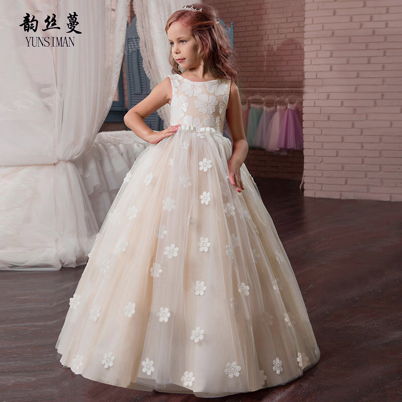 Elegant Girls Clothes Wedding Long Dresses Girls Sleeveless O-neck Flower Party Dress Kids Princess Ball Gown for 6 - 16 Y 2A19A 5 16 y girls dress for autumn 2018 kids print mesh black red o neck party dresses girls cute princess dress long sleeve m510a