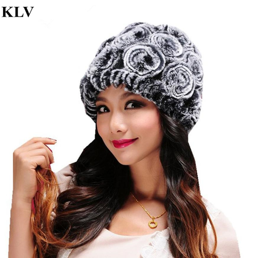Hot Autumn Winter Women's Genuine Real Knitted Rex Rabbit Fur Hats Handmade Lady Warm Caps Female Beanies Headgear Oc2