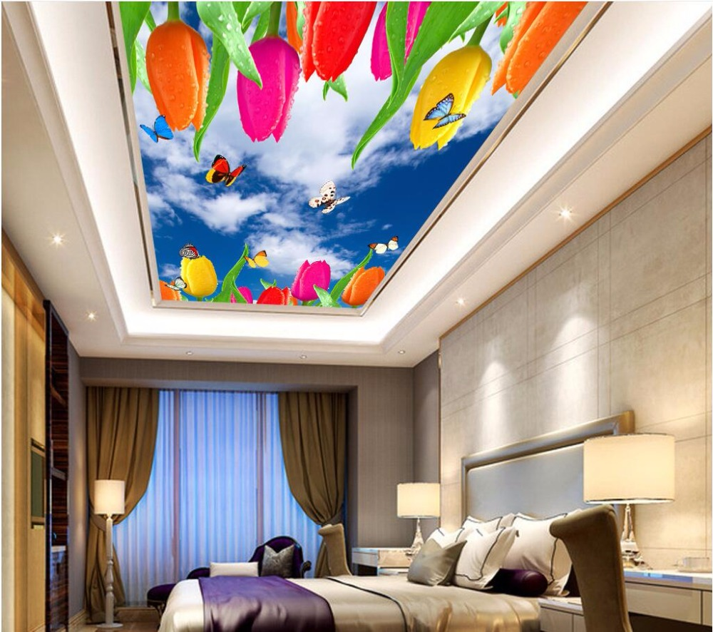 Custom Photo 3d Ceiling Murals Wallpaper Home Decor Painting Blue