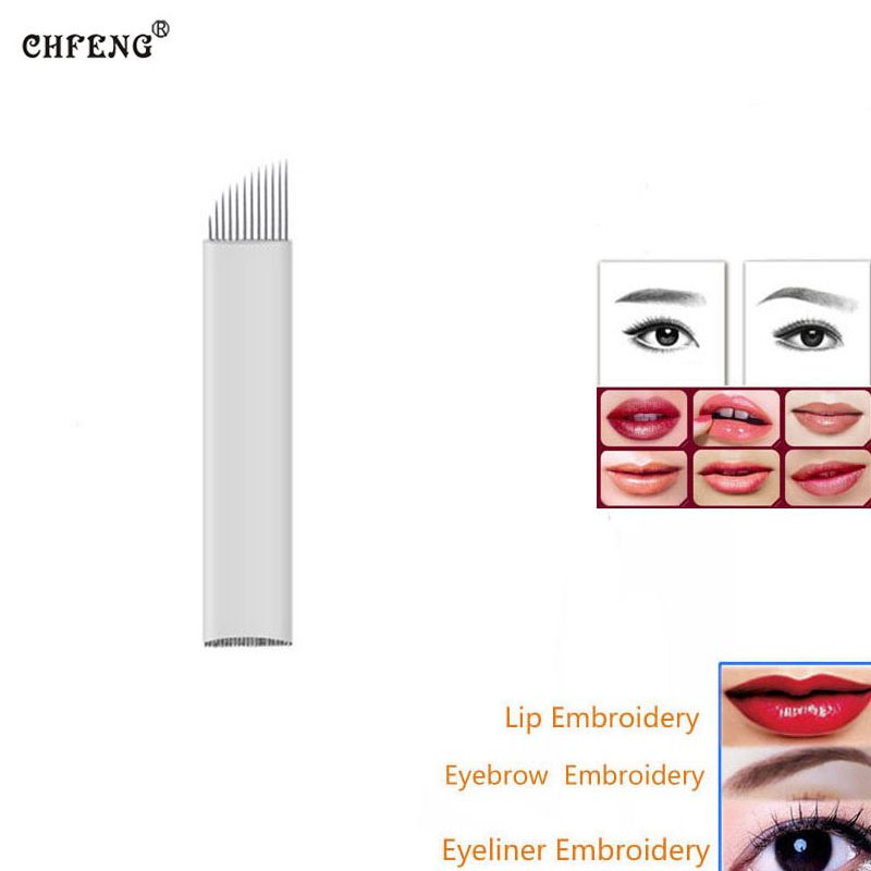 Permanent Makeup Tattoo Blades 12Pin 100Pcs Øyenbryn Lip Eyeline Microblading Nåler for Manuell Tattoo Pen Machine 3D Broderi