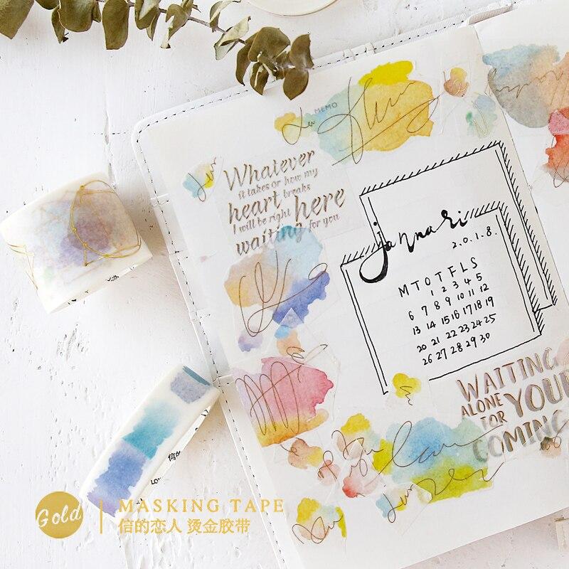 JUKUAI Watercolor Gilding Washi Tape DIY Decoration Scrapbooking Planner Masking Tape Adhesive Tape Label Sticker Stationery8123