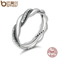 BAMOER Genuine 100 925 Sterling Silver Twist Ribbon Wrap Wave Sparkling CZ Finger Ring Women Wedding