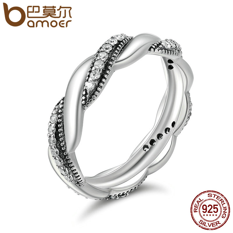 BAMOER Genuine 100% 925 Sterling Silver Twist Ribbon Wrap Wave Sparkling CZ Finger Ring Women Wedding Engagement Jewelry PA7637 цена 2017