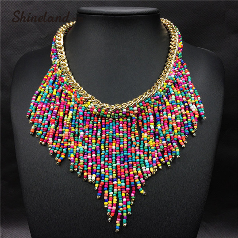 2018 Bohemian Necklaces Fashion For Women Jewelry Mujer Handwoven Collier Long T