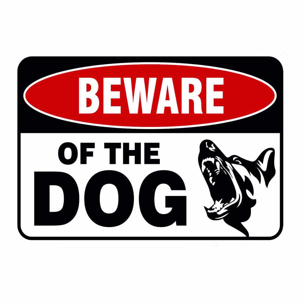 Cuidado con el perro guardián en advertencia peligro de Metal estaño signo placa de pared cartel pintura decoración de Navidad arte