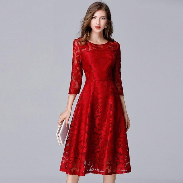 Plus Größe 2017 Frauen Herbst Kleider Büro Elegante Spitze Jacquard Herbst  Vintage Abendgesellschaft Damen Ukraine Vestidos 9b7aeea3f0