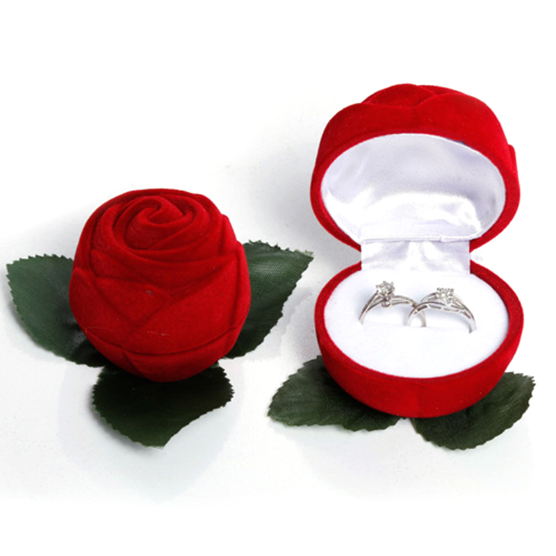 Red Rose Ring Box Personalized Velvet Wedding Originality Gift Box Fashion Valentines Engagement Box Jewellery Packaging Box