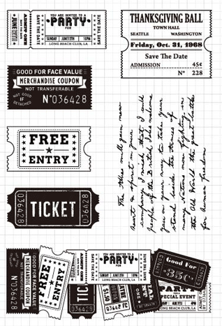 CLEAR STAMPS Retro Ticket DIY Scrapbook Card Album Paper Craft Silicon Rubber Roller Transparent Stamps