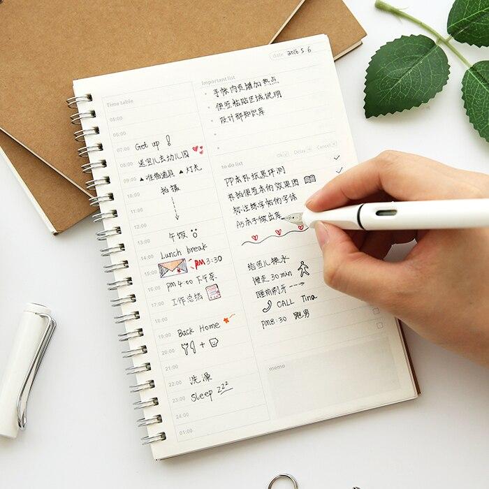 Muji Stil Retro Vintage Kraft Papier Spirale Zeitmanagement Notebook Timeline Effizienz Täglichen Agenden Planer Buch Notizblock