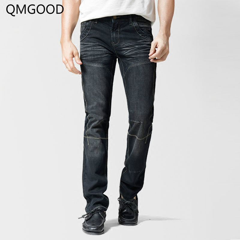 QMGOOD 2017 Hot Sales Men's Cotton Slim Retro Straight Jeans New Men's Brand Casual Cowboy Trousers High Quality Male Jeans 30 qmgood 2017 mens jeans new fashion men casual cotton jeans slim straight elastic jeans loose waist long trousers hot sales 30 31