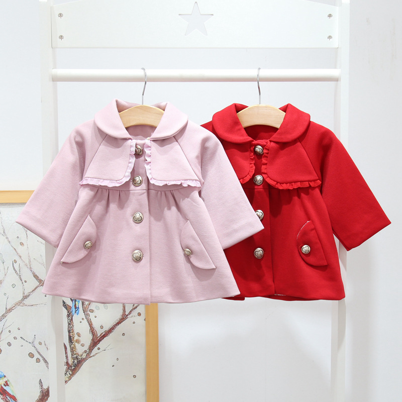 newborn jacket 2018 spring autumn baby girls coat cute lapel Frill Single-breasted girl winter coat for 0-2 age princess clothes цена 2017