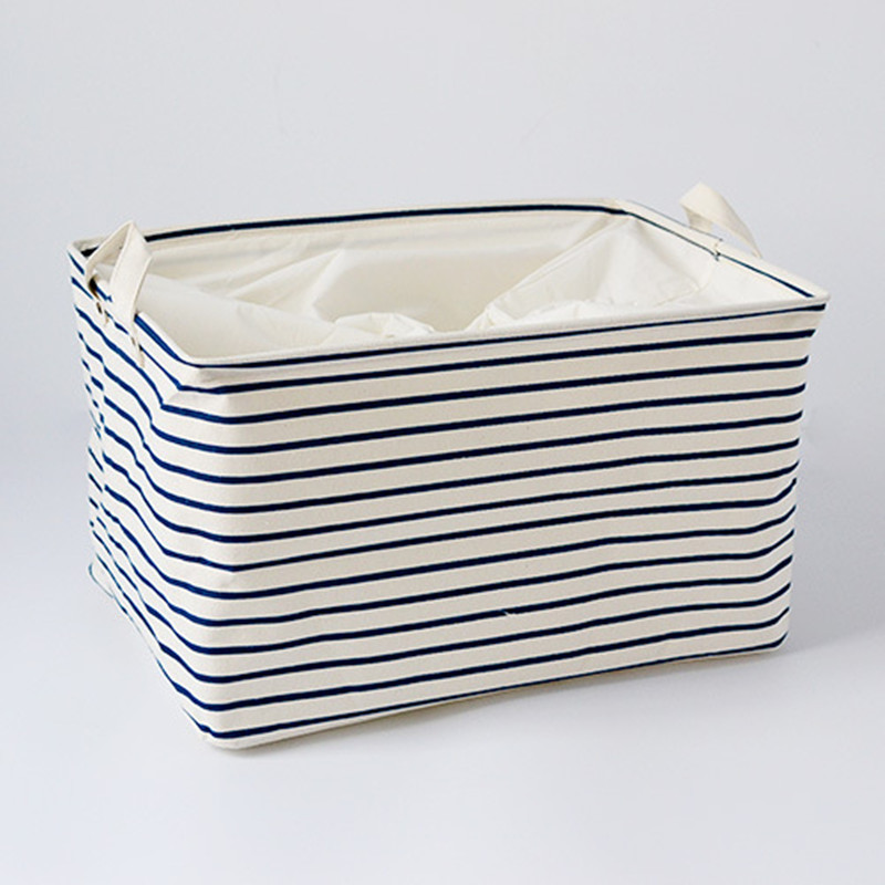 S/M/L Blue Striped Cotton Storage Basket Storage Bags for Kids Toys Dirty Clothes Folding Organizer Clothes Laundry Basket