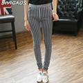 2016 Fall New Fashion Black White Vertical Striped Leggings Trousers Elastic Pencil Pants Slim Skinny Leggings Pantalones Women