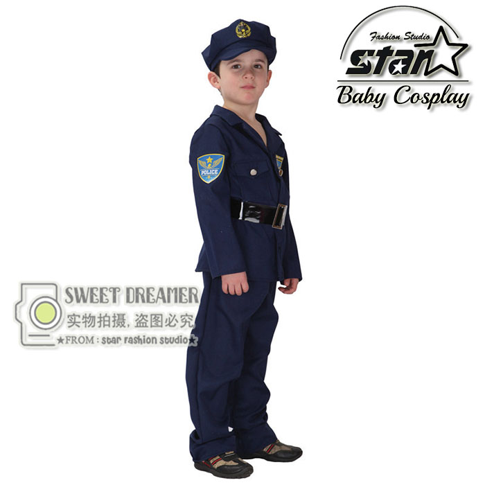 M~XL Boys Super Police Policeman Cosplay Halloween Party Cute Costume Boy Kids Children Game Stage Uniforms Suit