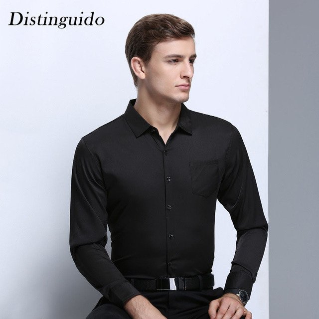 7af588911b 2018 New Arrival Men s Solid Color Black Shirts Slim Style Spring Summer Smart  Casual Long Sleeves Business Man Clothing MST135