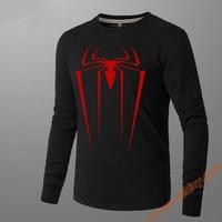 Superhero Red Spiderman Long Sleeve Tees Winter Superhero Tshirts Unisex Luminous 100% Cotton T Shirt Crew Neck Slim Fit M