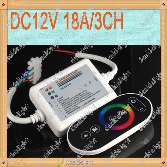 Freeshipping!DC12V 18A 3CH Common Anode RGB LED Controller with Black Touch Panel Wireless Remote