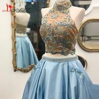 LIYATT 2018 Evening Prom Dress Ball Gown Crystal Sexy Two Pieces Sky Blue Amazing Long Arabic Vintage Dubai Women Gown