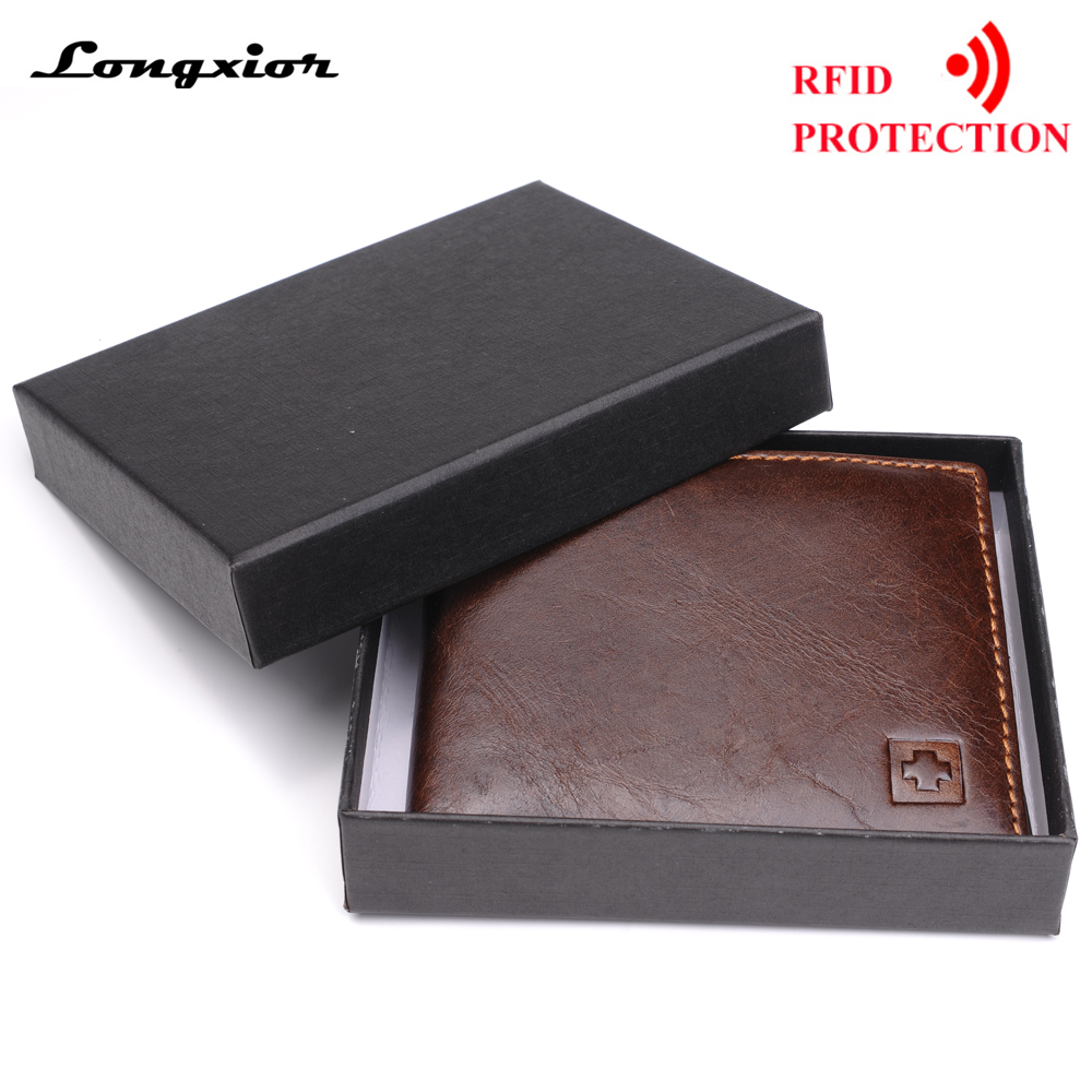 100%Genuine-Leather Wallets Purses Gift-Box RFID Brown MRF7 Black New-Brand Men for Bifold