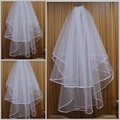 Hot Sale Cheap In Stock Two Layers Simple Pencil Edge Beads White Bridal Veils Wedding Veils Bridal Accessory S126
