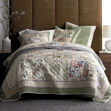 CHAUSUB Flowers Cotton Bedspread Quilt Set 3PCS American Handmade Patchwork Quilted Quilts Bed Cover Shams King Size Coverlets
