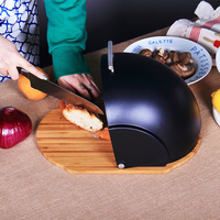 2 in 1 Bread Box Keeper Storage Compact Rolltop Bread Bin with Bamboo Cutting Base Board Roll Top