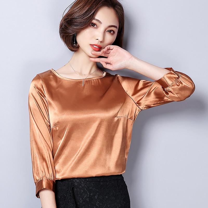 BIBOYAMALL White Blue Womens Silk Shirts Plus Size 2018 New Casual Woman Office Blouse Female Wear High Quality Ladies Tops