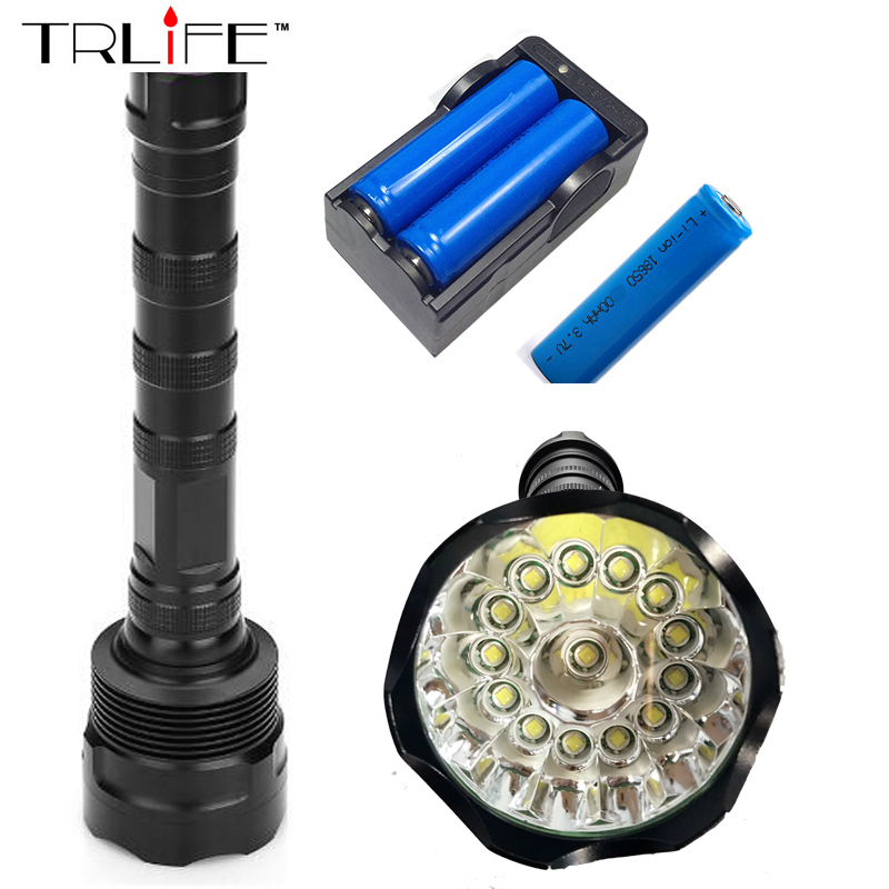 14T6 Torch LED Flashlight 65000 Lumens Lamp Lights 14 XM-L T6 Flash Light Floodlight Camping Lantern Hunting + 3x 18650 +Charger 3800 lumens cree xm l t6 5 modes led tactical flashlight torch waterproof lamp torch hunting flash light lantern for camping z93