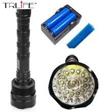 14T6 Torch LED Flashlight 65000 Lumens Lamp Lights 14 XM-L T6 Flash Light Floodlight Camping Lantern Hunting + 3x 18650 +Charger