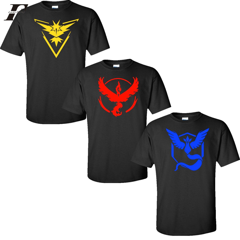 LUCKYFRIDAYF 2017 pokemon go plus t-shirt pokemon go shirt Team Valor Mystic Instinct t shirt pokemon go t shirt pokemon t-shirt