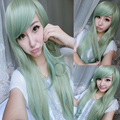70cm Mint Green Harajuku Lolita Wig Cosplay Long Wavy Heat Resistant Synthetic Womens Wigs Side Bang Pelucas