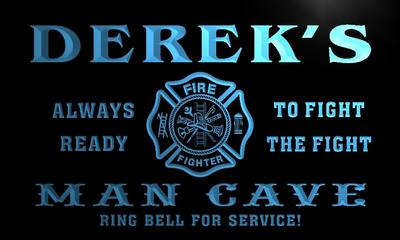 x0160-tm Dereks Man Cave Fire Dept Custom Personalized Name Neon Sign Wholesale Dropshipping On/Off Switch 7 Colors DHL