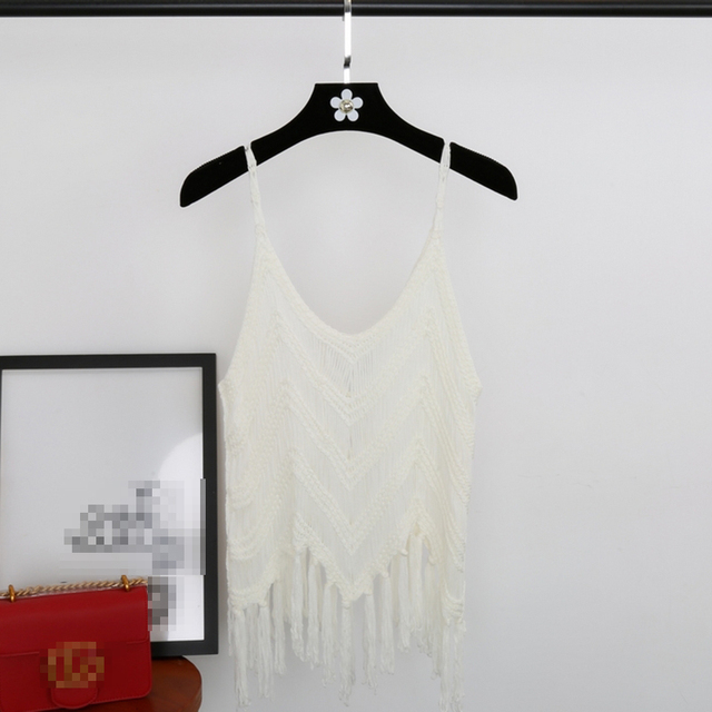 CHICEVER 2018 Spring Summer Knitted Women Tank Top Sexy Spaghetti Strap Tassel Hollow Short Tops Clothes Fashion Korean New