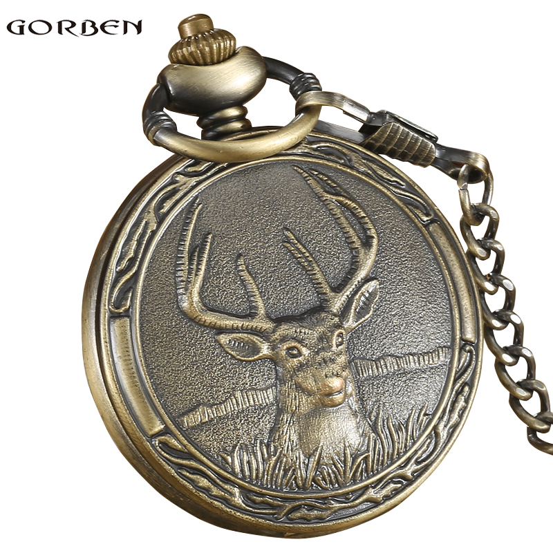 Vintage Quartz Pocket FOB watch Antique Deer with Pendant necklace Bronze Boys Pocket watch chain for Men Gifts Relogio De Bolso