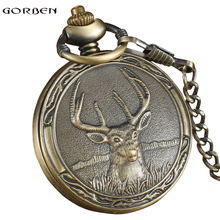 Vintage Quartz Pocket FOB watch Antique Deer with Pendant necklace Bronze Boys Pocket watch chain for Men Gifts Relogio De Bolso(China)