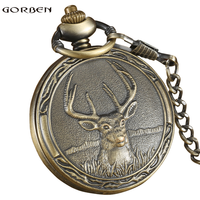 Vintage Quartz Pocket FOB Watch Antique Deer With Pendant Necklace Bronze Boys Chain For