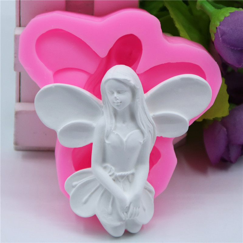 Fairy Soap Mold Resin Clay Chocolate Candy Silicone Cake Mould Angel Sugarcraft Fondant Cake Decorating Tools Kitchen Baking in Clay Extruders from Home Garden