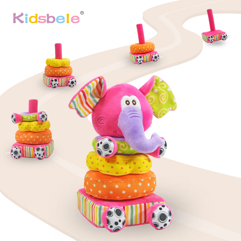 Baby Soft Rattles Toys Plush Mobiles Ring Bell Rustle Paper Colorful Elephant Stacking Toys Educational Toys For 0-12 Months