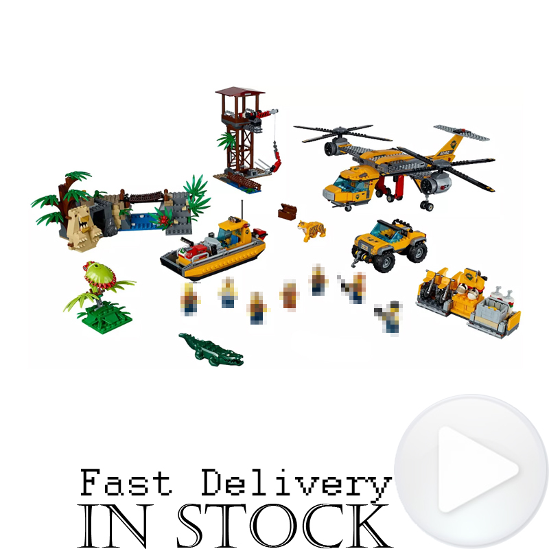 LEPIN City 02085 1400pcs Jungle aerial helicopters Building Blocks Bricks enlighten toys for children gifts brinquedos 60162 2017 enlighten city bus building block sets bricks toys gift for children compatible with lepin