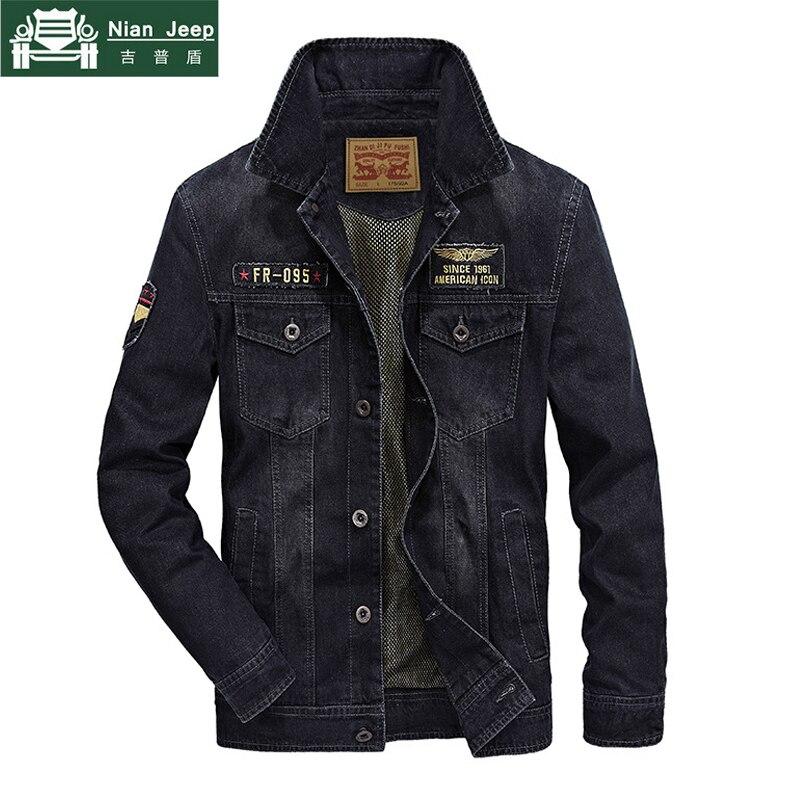 دنيم عال الجودة سترة الرجال العلامة التجارية AFS جيب الملابس الخريف بدوره إلى أسفل طوق رجل السترات أبلى الكلاسيكية جان معاطف حجم M 4XL-في جواكت من ملابس الرجال على  مجموعة 1